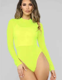 Fashion Fluorescent Yellow Mesh Fluorescent Long Sleeve Jumpsuit