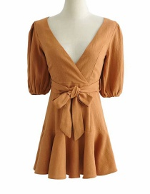 Fashion Caramel Colour V-neck Lace Dress