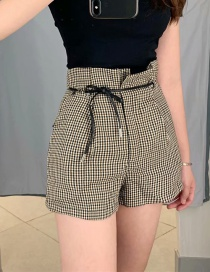 Fashion Khaki Houndstooth Tie Shorts