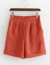 Fashion Brick Red Solid Color Pocket A Shorts
