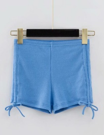 Fashion Blue Double Drawstring Thread Shorts