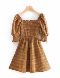 Fashion Light Brown Plaid Printed Puff Sleeve Dress