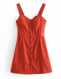 Fashion Red Colorblock Striped Sling Single-breasted Dress