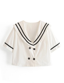 Fashion White Double-breasted Cotton And Linen Shirt