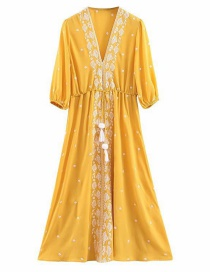 Fashion Yellow Embroidered Tassel Dress