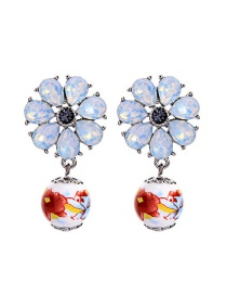 Fashion Protein Flower-studded Ceramic Earrings