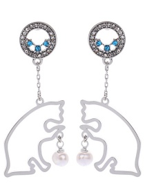 Fashion Silver Ed02095d-1 Kitten Pearl Earrings