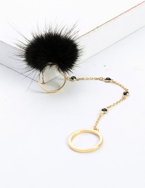 Fashion Gold + Black Hair Ball And Diamond Ring
