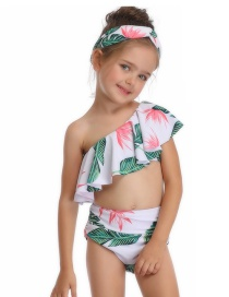 Fashion Flower Under Green Slanted Shoulder Single Flying Children's Swimsuit