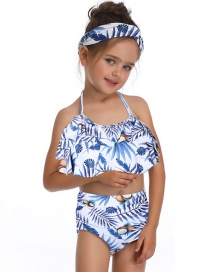Fashion Blue Print Printed Ruffled Hanging Neck Children's Swimsuit