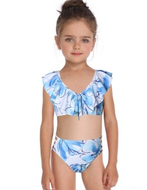 Fashion Blue Flashing V-neck Print Children's Swimsuit