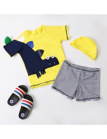Fashion Yellow + Stripes Dinosaur Pattern Children's Split Swimsuit