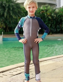 Fashion Gray Boy Colorblock Printed Children's One-piece Swimsuit