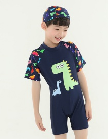 Fashion Dark Blue Dinosaur Monster Children's One Piece Swimsuit