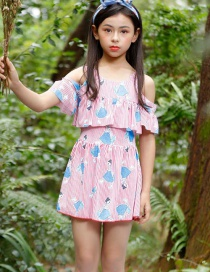 Fashion Pink Flying Off-the-shoulder Children's One-piece Swimsuit