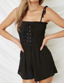 Fashion Black Chest Straps Jumpsuit