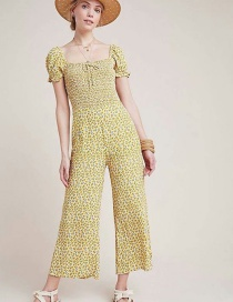 Fashion Yellow Printed Jumpsuit