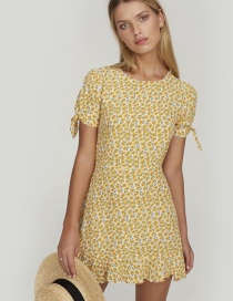 Fashion Yellow Floral Knotted Dress