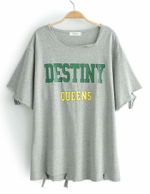 Fashion Green Hole Print Letter Short Sleeve T-shirt