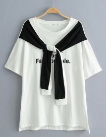 Fashion White Letter Fake Two T-shirt