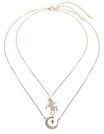 Fashion Gold Double Layer Unicorn Star Full Moon Necklace