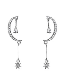 Fashion Silver S925 Silver Pin Studded Star Moon Symmetrical Earrings