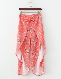 Fashion Orange Powder Flower Printed Wide Leg Pants