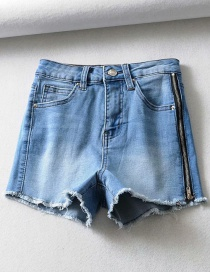 Fashion Blue Washed Side Zippered Denim Shorts