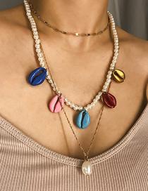 Fashion Colored Seashell Pearl Multilayer Shell Bead Necklace