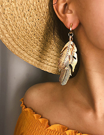 Fashion Gold Multi-layered Leaf Alloy Stud Earrings