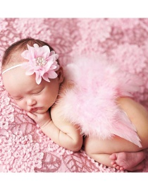 Fashion Pink Feather Angel Wings Chiffon Flower Diamond Baby Headband Set