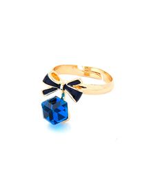 Fashion Blue Drip Oil Bow Open Ring