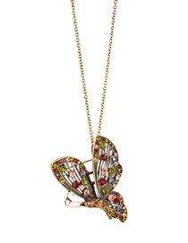 Fashion Gold Butterfly Diamond Pendant Necklace