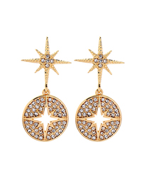 Fashion Gold Star-studded Geometric Hollow Ring Stud Earrings