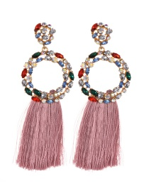 Fashion Leather Pink Alloy Diamond Ring Tassel Earrings