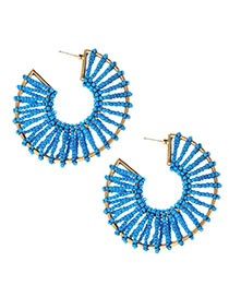 Fashion Blue Alloy Rice Beads Round Earrings