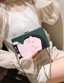 Fashion Dark Green Crossbody Single Shoulder Lock Chain Cartoon Bag