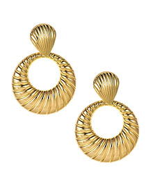 Fashion Gold Alloy Shell Pattern Round Earrings