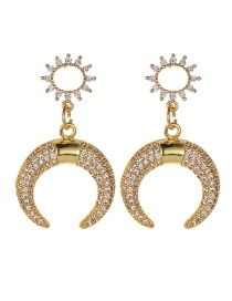 Fashion Gold Copper Inlaid Zircon Natural Pearl Crescent Earrings
