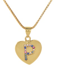 Fashion P Gold Copper Inlaid Zircon Color Letter Necklace