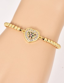 Fashion Gold Copper Inlay Zircon Beaded Bracelet