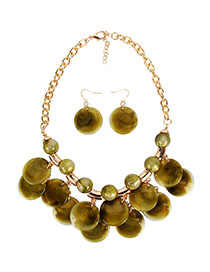 Fashion Olive Green Streaming Bead Necklace
