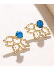 Fashion Blue Openwork Lotus Stud Earrings