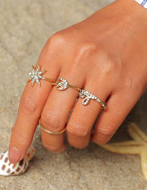 Fashion Gold Star Moon Letter Diamond Ring Combination