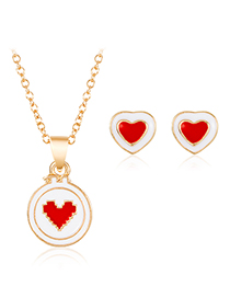 Fashion Red Alloy Love Necklace Stud Earrings Set