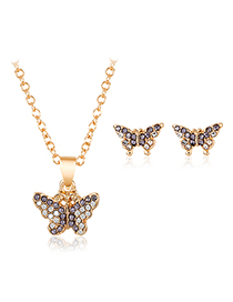 Fashion Gray Alloy Butterfly Necklace Earring Set