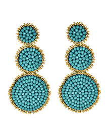 Fashion Blue Alloy Beads Round Earrings