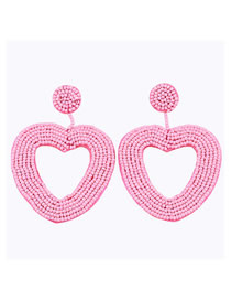 Fashion Pink Love Rice Beads Earrings