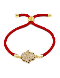 Fashion Red Rope Gold Palm Crystal Pull Bracelet