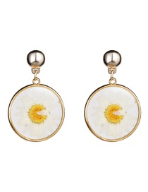 Fashion Yellow Round Plastic Flower Earrings